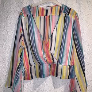 Sheer bright strip wide sleeve top